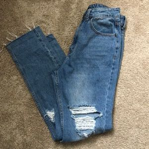 Distressed 100% cotton high rise jeans
